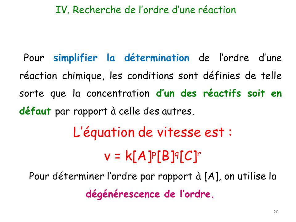 L'équation de vitesse est : v = k[A]p[B]q[C]r